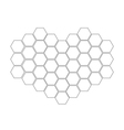 Honeycomb set in shape of heart Beehive element vector image vector image