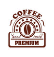icon of coffee bean for cafeteria or cafe vector image