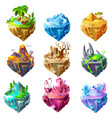 isometric game islands collection vector image vector image