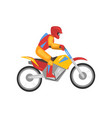 man riding motorbike motorcyclist male character vector image vector image