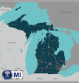 map of state michigan vector image