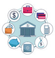 money and bank vector image