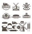 monochrome labels set for bakery shop vector image vector image