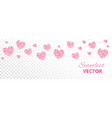 pink hearts frame seamless border glitter vector image vector image