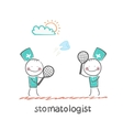 playing badminton tooth vector image vector image