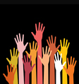 raised hands on black background vector image vector image