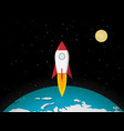 rocket go to moon from earth vector image vector image