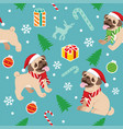 seamless happy pug dog christmas pattern vector image