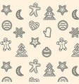 seamless pattern with christmas gingerbread vector image vector image