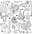 seamless pattern with sketch deepwater living vector image vector image