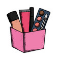 set make up accessories in box vector image