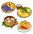 Set of delicious healthy food on white background vector image