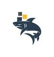 shark pixel technology logo design isolated vector image