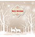 snow winter landscape deers merry christmas card vector image vector image