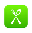 spoon and fork icon digital green vector image