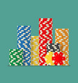 stacks colorful poker chips vector image vector image