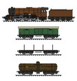 the vintage freight steam train vector image vector image