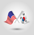 two crossed american and korean flags vector image vector image
