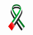 united arab emirates flag stripe ribbon on white vector image vector image