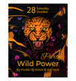 wild power party slogan poster with amur leopard vector image vector image