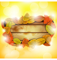 Wooden board with autumn colorful leaves vector image