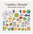 Healthy lifestyle sticker set vector image