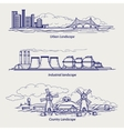 Sketch urban country and industrial ladscapes vector image