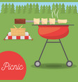 picnic grilled basket meadow tree vector image