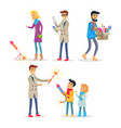 adults and children setting off bright fireworks vector image