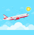 airplane flying in sky jet plane fly in clouds vector image vector image