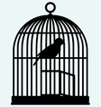 An open birdcage and bird vector image