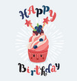 birthday cupcake in front a chalkboard vector image vector image