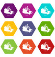 canada map icons set 9 vector image vector image