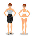 cartoon girl with short brown hair in black dress vector image vector image