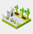 cemetery concept 3d isometric view elements of vector image