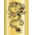 Chinese dragon on a gold background vector image vector image