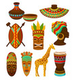 collection of authentic symbols of africa vector image vector image