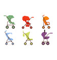 colorful baby strollers collection different vector image