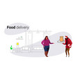 courier man giving paper bag to overweight woman vector image vector image