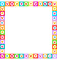 cute vibrant square love frame made of doodle vector image vector image