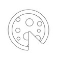 delicious cooked pizza black and white icon vector image