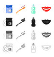 dental floss toothbrush for care tooth elixir vector image vector image