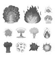 different explosions monochrome icons in set vector image vector image