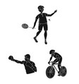 different kinds of sports black icons in set vector image vector image
