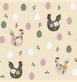 easter seamless pattern with chicken and eggs vector image