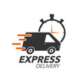 express delivery icon concept van with stop watch vector image