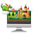 fairy tale background on computer screen vector image vector image