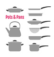 Flat utensil set Pots pans kettle vector image
