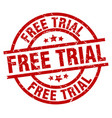 free trial round red grunge stamp vector image