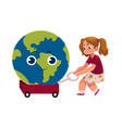 girl pulling cart with globe earth character vector image vector image